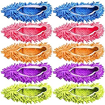Tamicy Mop Slippers Shoes 5 Pairs  10 Pieces  - Microfiber Cleaning House Mop Slippers Floor Cleaning Tools Shoe Cover Soft Washable Reusable Microfiber Foot Socks Floor Cleaning Tools Shoe Cover