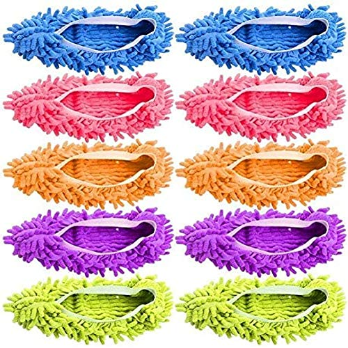 Tamicy Mop Slippers Shoes 5 Pairs (10 Pieces) - Microfiber Cleaning House Mop Slippers Floor Cleaning Tools Shoe Cover Soft Washable Reusable Microfiber Foot Socks Floor Cleaning Tools Shoe Cover