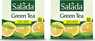 Salada Green Tea Infused with Fruit Juice (Lively Lemon, 40 Tea Bags (Pack of 2) - 80 Bags Total)
