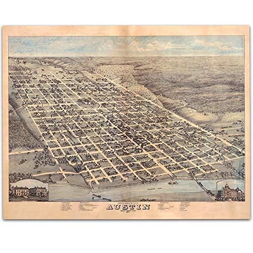 1873 Austin Texas Map Art Print - 11x14 Unframed Art Print - Great Vintage Home Decor and Gift Under $15