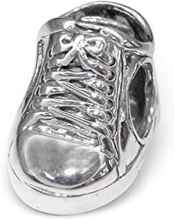 Sterling Silver Canvas Shoe Bead