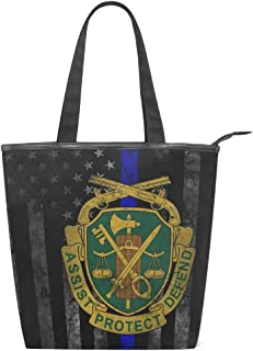 SLHFPX Canvas Tote Bag US Army Retro Military Police Womens Reusable Grocery Shopping Bag Foldable Shoulder Zipper Bookbag