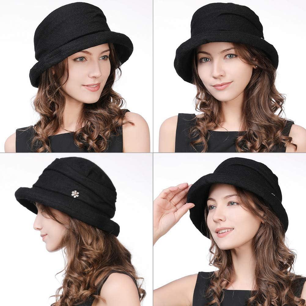 1920s Hat Styles for Women – History Beyond the Cloche Hat Cloche Round Hat for Women 1920s Fedora Bucket Vintage Hat Flower Accent  AT vintagedancer.com