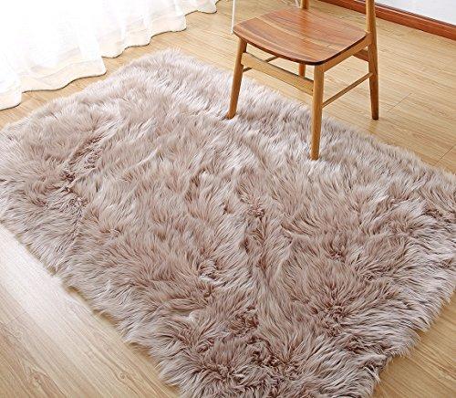 LEEVAN Rectangle Sheepskin Rug Supersoft Fluffy Area Rug Shaggy Silky Throw Rug Floor Mat Carpet Decoration (3 ft x 5 ft, Coffee)
