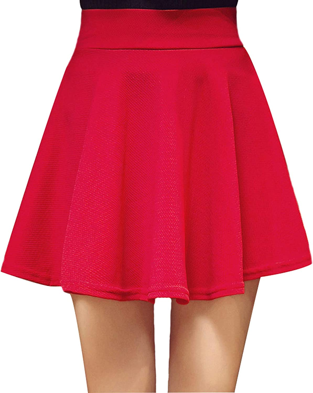 Mandy Luv Women's Elastic Waist Basic Versatile Stretchy Flared Pleated Casual Mini Skirt