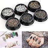 Mwoot Piedras del Strass para el arte del arte de las uñas, 6 cajas de cristales mixtos piedras preciosas perlas para DIY Nails Art