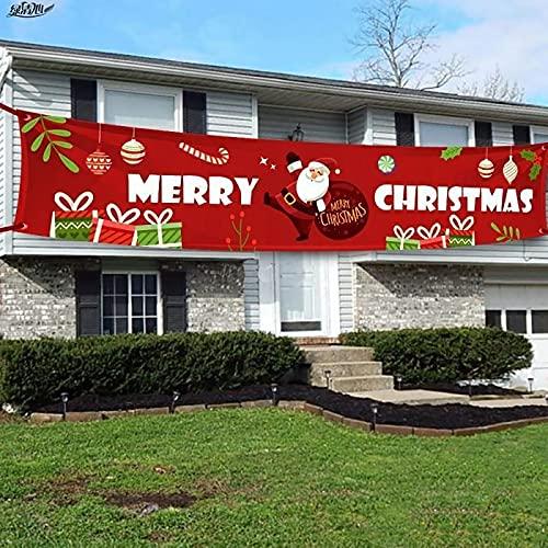 LHKK Cartel de celosía Feliz Navidad, decoración Banner Navidad roja al Aire...