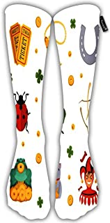 Sports Socks For Men Women The Lucky Charms Icons Objects Are Against White Compression Socks