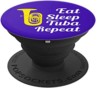 Tuba Player Gift - Eat Sleep Tuba Repeat - Blue - PopSockets Grip and Stand for Phones and Tablets
