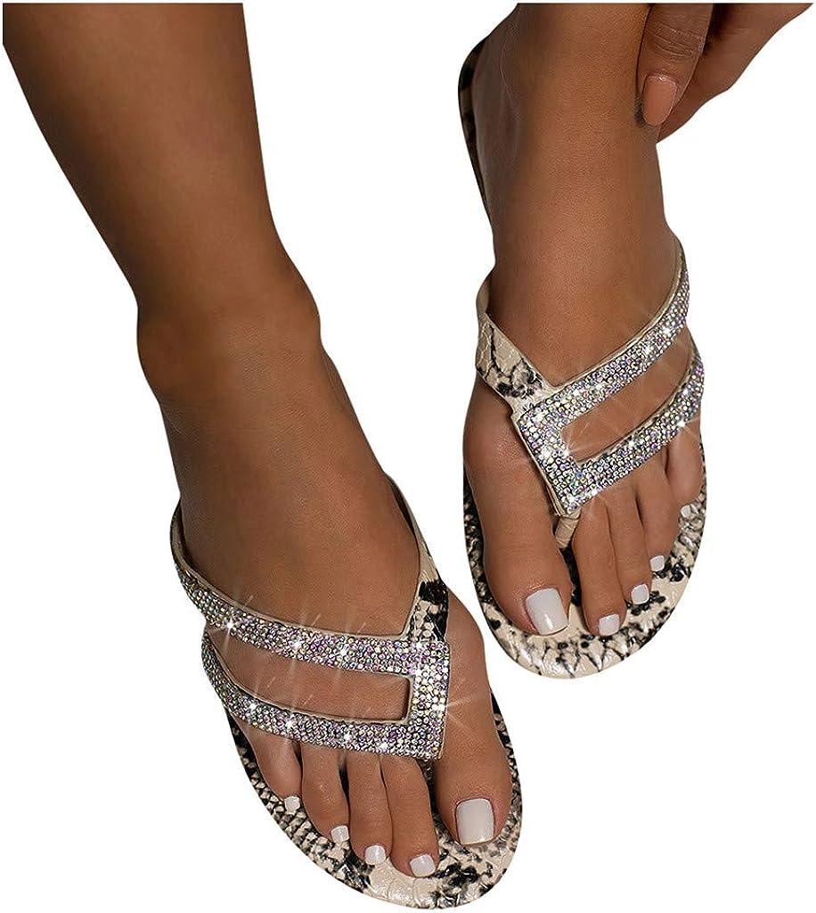 POLLYANNA KEONG Platform Sandals for Women,Women's Comfy Crystal Beach Sliders Summer Beach Travel Sandals