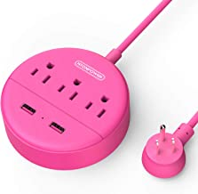 Power Strip with USB - NTONPOWER Pink Travel Power Strip Flat Plug, 3 Outlets and 2 USB Ports Desktop Charging Station with 5ft Extension Cord, Wall Mount, Compact for Cruise Ship, Home and Office