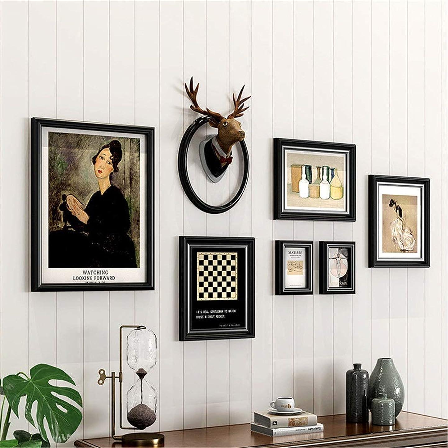 落ち着いた人気の資源フォトフレームウォール ルームフォトアルバムフレームダイニング壁フォトフレームの組み合わせデコレーションクリエイティブ人格レトロソリッドウッド写真壁ヨーロピアンスタイルのリビングルーム 壁掛け 写真フレーム (色 : 04, サイズ : Free size)