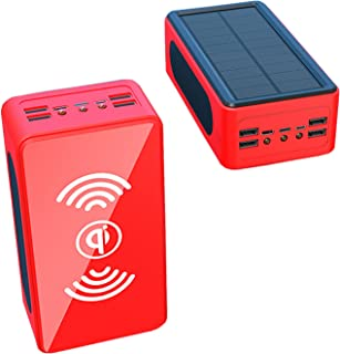 Solar Power Bank 50000mAh, 10W/7.5W Wireless Portable Charger 22.5W External Battery 5 Outputs Huge Capacity Solar Charger...