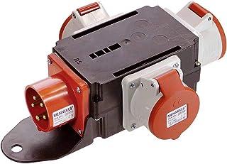 as   Schwabe MIXO Adapter / Stromverteiler RHEIN – 5 poliger CEE Stecker auf 3 5 polige CEE Steckdosen – Robuster Baustellen Starkstrom Verteiler – IP44 – Made in Germany I 60531