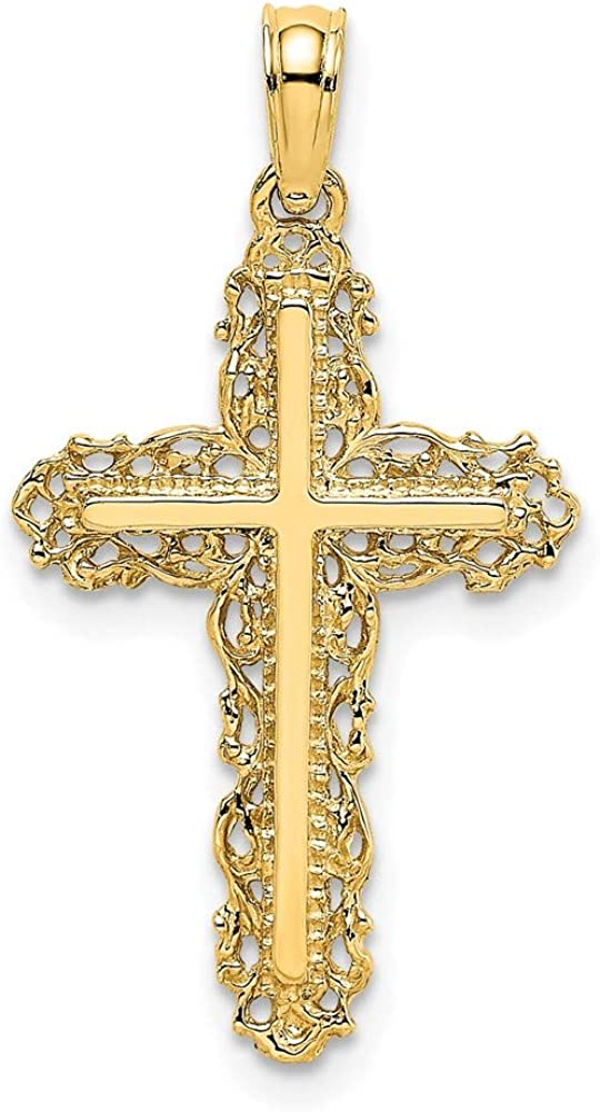 14k Yellow Today's only Gold Cross Religious Filigree Trim Pendant Charm Lace Beauty products