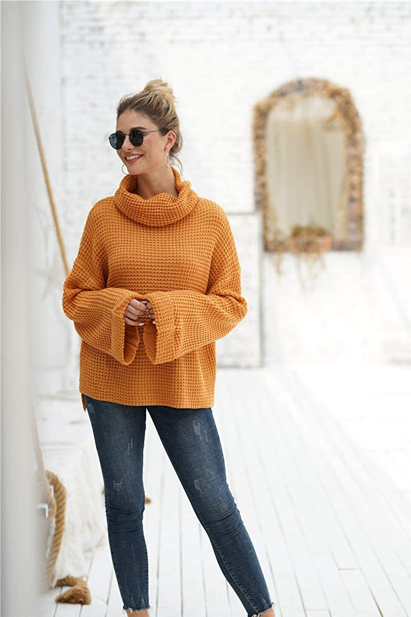 Twirfy Womens Casual Long Sleeve Mock Neck Sweater Solid Oversized Turtleneck Knit Sweaters Loose Pullover Jumper Tops