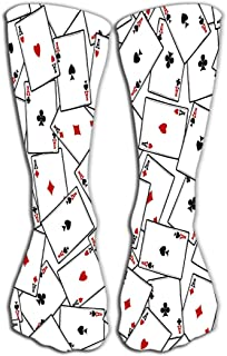"""GHEDPO Women's Men's Cool Colorful Casual Socks Casual Cotton Crew Socks Gift 19.7""""(50cm) Four aces Texture Playing Cards ..."""