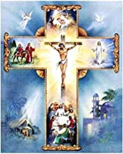 Ukerdo DIY 5D Diamond Painting Kits Full Drill Wall Arts Cross Jesus Pictures for Home Bedroom Décor