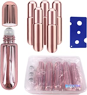 5 Pcs Rose Gold Glass 5ml Perfume Essential Oil Roller Bottles Metal Roller Ball,travel Empty Roll On Rollers Bottles Fragrance Aromatherapy Lip Balms Liquid Refillable Container(with Case,opener)