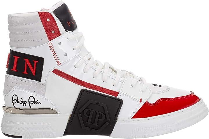Sneakers alte phantom kick$ uomo white/red philipp plein A20S-MSC2839-PXV001N