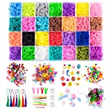 GIEMSON Rainbow Rubber Bands Refill Kit 11080+ Rubber Loom Bands Kit for Kid's Crafting