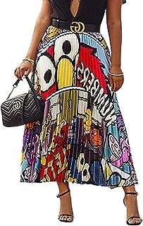 Speedle Women Color Block Graffiti Letter Print Cartton Pleated A Line Maxi Long Party Skirt