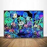 KWzEQ Cartel de ilusión Abstracta psicodélica Moderna póster de Arte de Pared e Impresiones Sala de Estar decoración del hogar,Pintura sin Marco,60X90cm