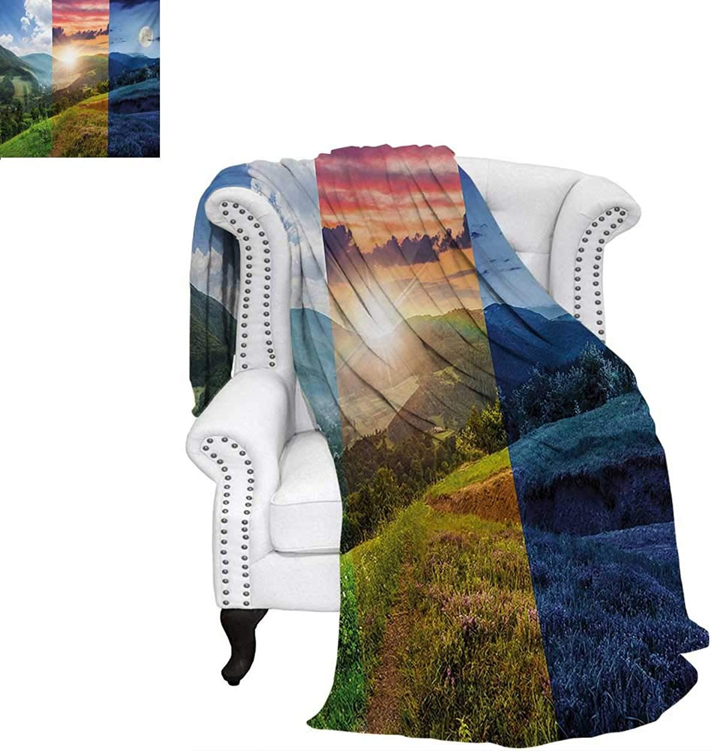 Warmfamily Nature Print Artwork Image Foggy Mountain Forest View in Various Times The Day Idyllic Nature Collage Art Warm Microfiber All Season Blanket 62 x60  Multicolor