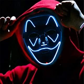 Halloween Led Light Up Mask Cosplay Party Costume Hockey Mask Scary Shock Halloween Mask Nightmare Before Christmas Mask
