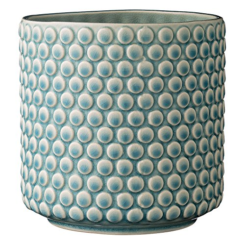 Bloomingville A75100047 Sky Blue & Cream Stoneware Pot with Crackle Finish