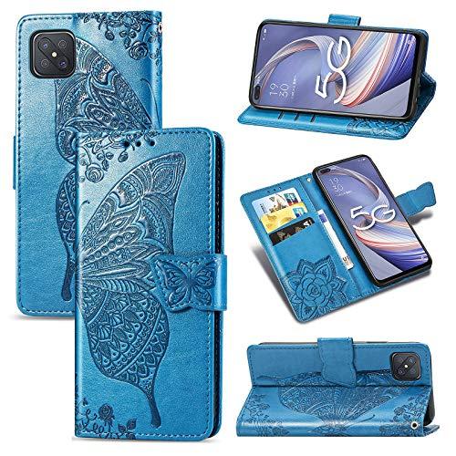 JIUNINE Hülle für Oppo Reno4 Z 5G, Handyhülle Leder Flip Hülle mit Schmetterling Muster [Kartenfach] [Magnetverschluss] Schutzhülle Tasche Cover Lederhülle für Oppo Reno4 Z 5G, Blau