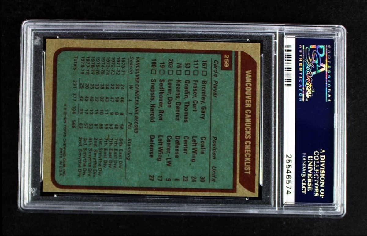 1979 Topps price Cheap SALE Start # 259 Canucks Team Vancouver Checklist Hocke