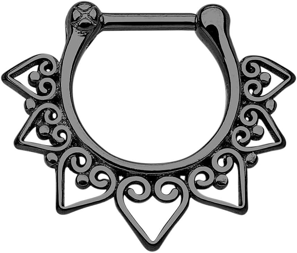 Pierced Owl 16GA 100% Stainless Steel Tribal Fan Septum Clicker Ring