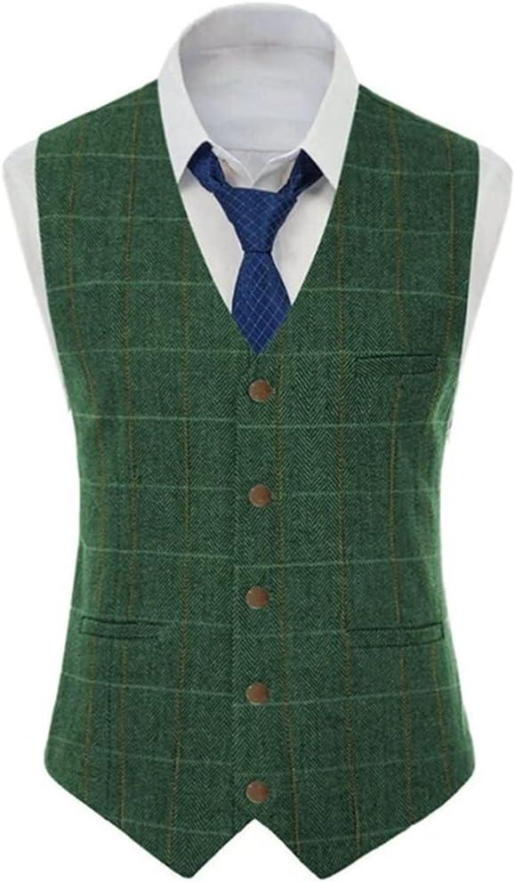 ZLDGYG Men's Vest Tweed Suit Business Clothing for Men Striped Waistcoat Vests for Groomman Wedding (Color : A, Size : 5XL Code)
