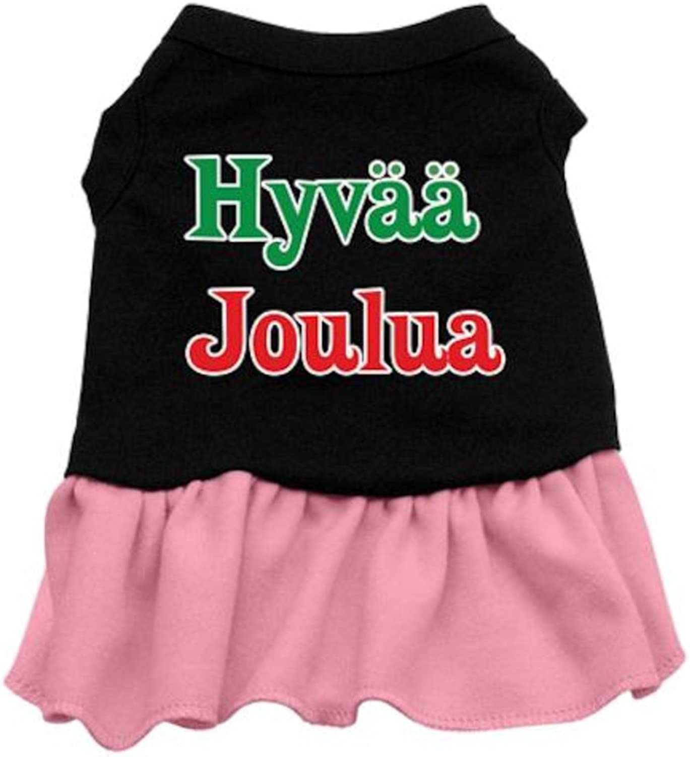 Mirage Pet Products 16Inch Hyvaa Joulua Screen Print Dress, XLarge, Black with Pink