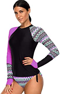 WoCoo Surfing Wetsuit Sun-proof Clothing Long Sleeve UV Sun Protection UPF 50+ Rash Guard Top 2 Piece Swimsuit for women