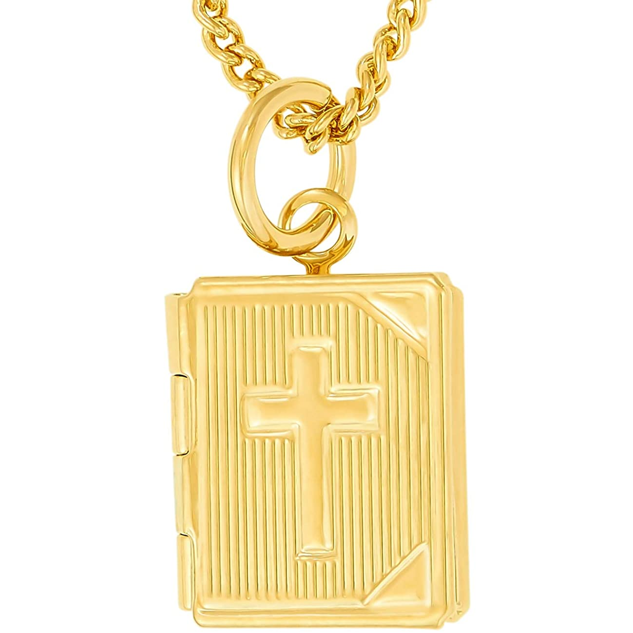 Lifetime Jewelry Bible Locket Necklace That Holds Pictures with up to 20X More 24k Plating Than Other Photo Lockets - Religious Charm Necklace for Women & Men with Free Lifetime Replacement Guarantee