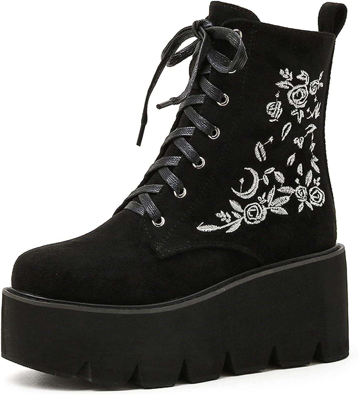 SaraIris Women's Gothic Platform Boots Fashion Block Heel Combat