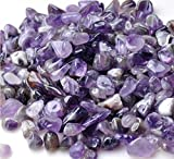 Bingcute 1 lb Natural Amethyst Tumbled Chips Stone About 10-15mm Length Each Crushed Healing Crystal Quartz Pieces (Purple)