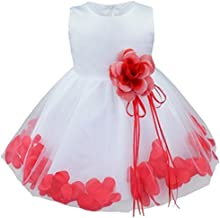 Tiaobug Baby Girls Flower Petals Bow Bridal Dress Princess Pageant Wedding Bridesmaid Christening Formal Party Ball Prom Gown