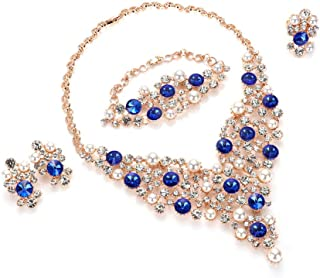Luxurious Blue Crystal Bridal Cream Simulated Pearl Gold Plated Statement Necklace Earrings Jewelry Sets for Women Costume,4 Pairs