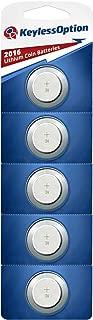 KeylessOption 2016 Battery Long Lasting 3v Lithium for Keyless Entry Remote Smart Key Fob Alarm Head Flip Keys CR2016 (5 Count)