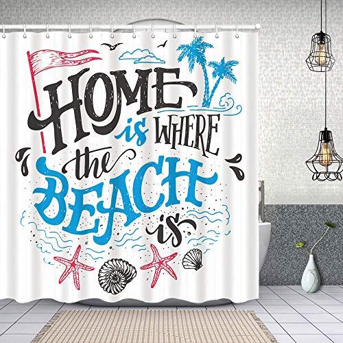 Cortina de Baño con 12 Ganchos,Casa temática de Verano Tropical es Donde la Playa es Frase,Cortina Ducha Tela Resistente al Agua para baño,bañera 150X180cm