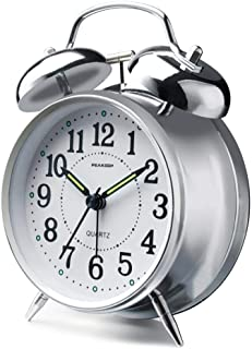 Peakeep 4 inches Twin Bell Loud Alarm Clock for Heavy Sleepers (Silver)