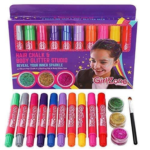 GirlZone Set 10 Tizas para Pelo y 3 Botes de Gel de Brillantina Cara, Cabello y Cuerpo Glitter...