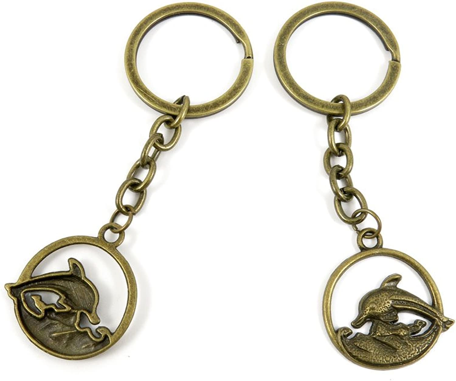 100 PCS Keyrings Keychains Key Ring Chains Tags Jewelry Findings Clasps Buckles Supplies Z8RQ2 Dolphin