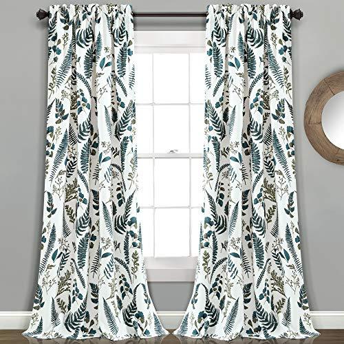 "Lush Decor White-and-Green Devonia Room-Darkening Window Curtain Set, 84"" x 52"""