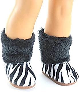 18 Inch Doll Clothes | Zebra Print Faux Fur Trimmed Boots | Fits 18