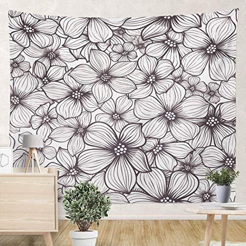 Yuanmeiju Tapices de Pared de Flores Blancas para Colgar en la Pared de 59 x 59 Pulgadas