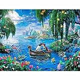 DIY Pintar por números Navegación romántica de Dibujos Animados para Adultos niños Principiantes bricolaje50x40cm(20X16inch) Pintura sin Marco